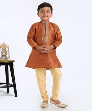 Ethnik's Neu Ron Full Sleeves Kurta & Pyjama Set Self Print - Brown Golden