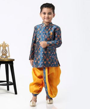 Ethnik's Neu Ron Full Sleeves Kurta With Dhoti Floral Design - Blue