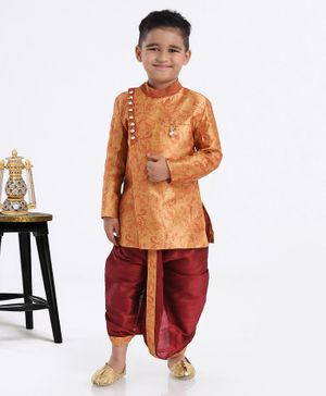 Ethnik's Neu-Ron Full Sleeves Printed Sherwani With Dhoti Brooch Applique - Orange