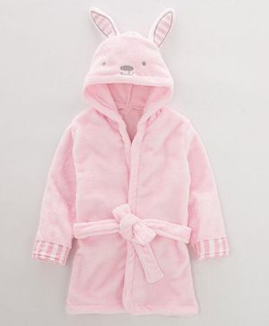 Pre Order - Awabox Bunny Ear Applique Full Sleeves Bathrobe - Light Pink