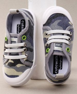 Cute Walk by Babyhug Camouflage Canvas Shoes - Grey Blue