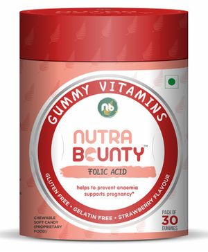 Nutrabounty Folic Acid with 100% RDA in Strawberry Flavor - 30 Gummies
