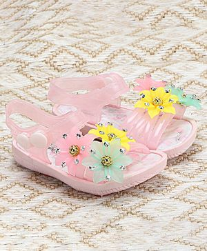 Passion Petals Summer Flower Embossed Sandals - Pink