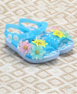 Passion Petals Summer Flower Embossed Sandals - Blue
