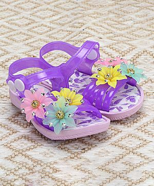 Passion Petals Summer Flower Embossed Sandals - Purple