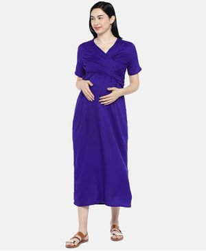 Blush 9 Solid Half Sleeves Overlap Maternity Dress - Blue