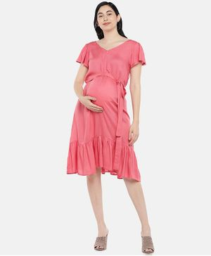 Blush 9 Solid Half Sleeves Concealed Zip Maternity and Nursing Dress - Pink