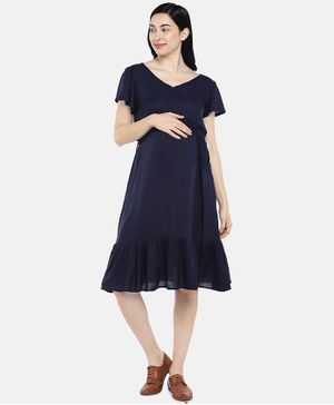 Blush 9 Solid Half Sleeves Concealed Zip Maternity and Nursing Dress - Navy Blue