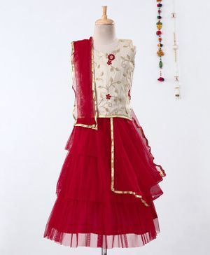 Pikaboo Floral Embroidery Sleeveless Choli With Ruffled Net Lehenga & Dupatta - Beige & Red
