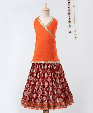 Pikaboo Lace Detailed Sleeveless Choli With Sanganeri Print Lehenga - Orange