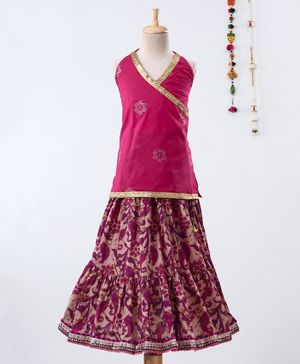 Pikaboo Flower Embroidered Sleeveless Choli With Sanganeri Print Lehenga - Pink