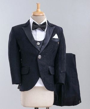 Jinaam 5 Piece Tuxedo Party Suit With Bow - Navy
