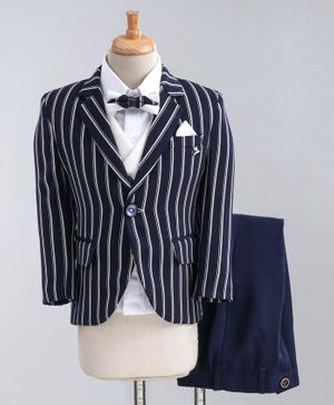 Jinaam 5 Piece Tuxedo Party Suit With Tie - Navy