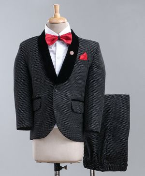 Jinaam 4 Piece Tuxedo Party Suit With Bow - Black