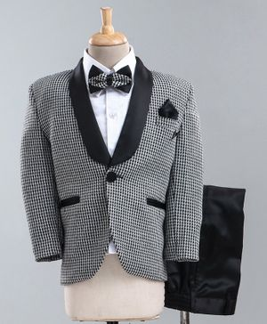 Jinaam 5 Piece Tuxedo Party Suit With Bow - Grey Black
