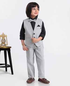 Jinaam 3 Piece Stripe Party Suit With Bow - Black White