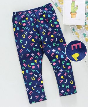 Babyhug Full Length Lounge Pant Alphabet Print - Dark Blue