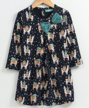 Tiara Camel Printed Full Sleeves Bow Applique Dress - Navy Blue