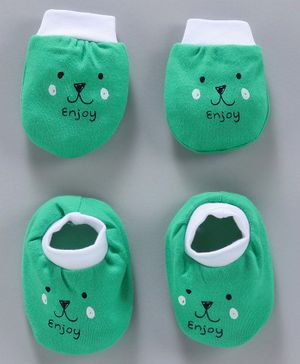 Simply Mittens & Booties Bear Print - Green