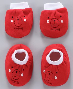 Simply Mittens & Booties Bear Print - Red