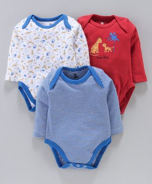 I Bears Full Sleeves Onesies Tiger Print Pack of 3 - Blue Red