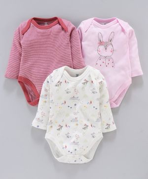 I Bears Full Sleeves Onesies Bunny Print Pack of 3 - Pink White