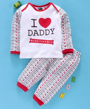 Mini Taurus Full Sleeves Tee & Lounge Pant Love Daddy Print - White Red