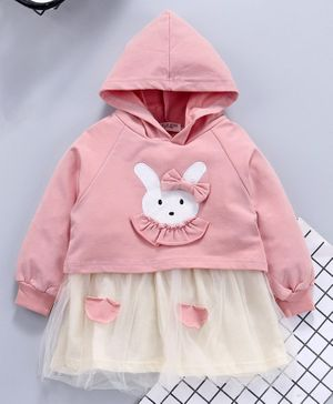 Kookie Kids Hooded Party Frock Bunny Patch - Pink