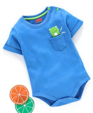Babyhug 100% Cotton Half Sleeves Onesie Frog Print - Blue