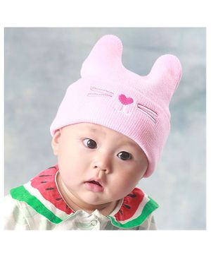 Syga Knitted Woolen Cap - Pink