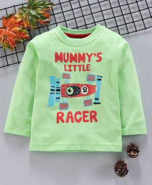 Babyhug Full Sleeves Tee Racer Print - Light Green