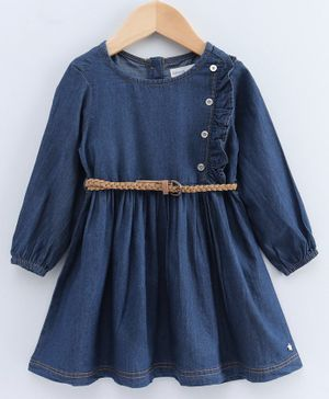 Babyoye Full Sleeves Cotton Frock  With Buttons - Blue