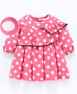 Babyoye Cotton Full Sleeves Frilled Frock Polka Dot Print - Pink