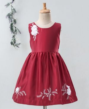 Enfance Sleeveless Flower Embroidered Dress - Maroon