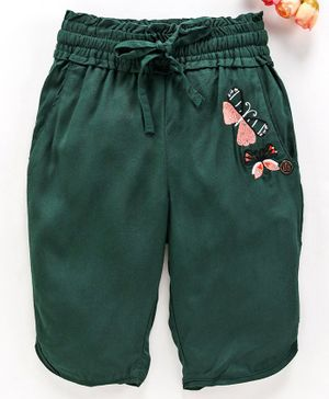 UFO Butterfly Embroidered Shorts - Green