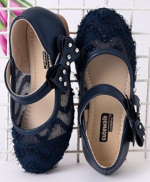 Cute Walk by Babyhug Party Wear Belly Shoes Studded Bow Applique - Navy Blue