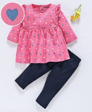 Cucumber Full Sleeves Frock With Leggings Heart Print - Pink