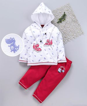 Cucumber Winter Wear Full Sleeves Hooded Tee And Lounge Pant Dino Print - White Red