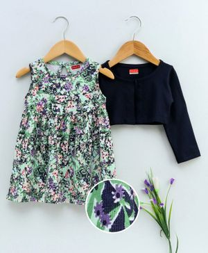 Babyhug Sleeveless Frock With Shrug Floral Print - Green Navy Blue