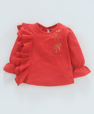 Babyoye Cotton Waterfall Ruffled T-Shirt Star Print - Red