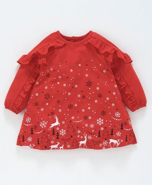 Babyoye Full Sleeves Cotton Frock Allover Printed - Red