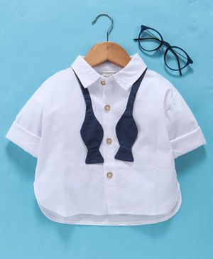 Kookie Kids Full Sleeves Solid Shirt With Bow Tie - White