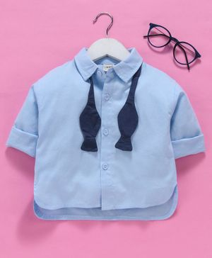 Kookie Kids Full Sleeves Solid Shirt With Bow Tie - Blue