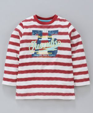 Jus Cubs Striped Full Sleeves Tee - Red