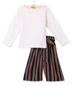 M'andy Full Sleeves Polka Dot Print Top With Striped Pants - White & Black