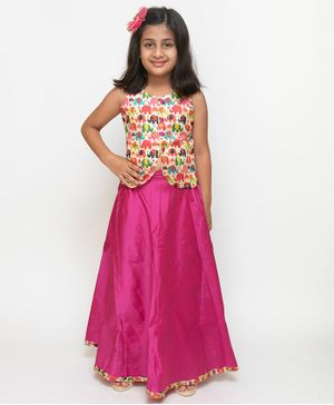 Fairies Forever Flower Printed Sleevelesss Choli With Lehnega - Pink & Beige