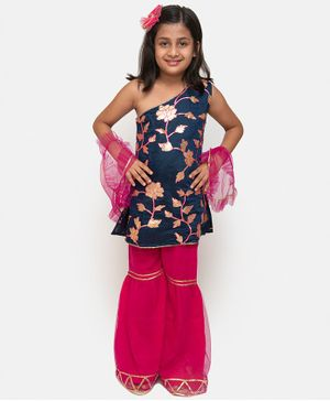 Fairies Forever Flower Printed One Shoulder Kurta With Sharara & Dupatta - Navy Blue & Pink