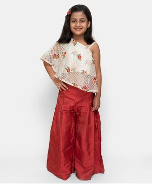 Fairies Forever Flower Embroidered One Shoulder Sleeveless Top With Palazzo - White & Red