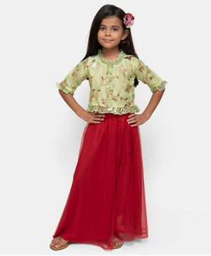 Fairies Forever Flower Patch Half Sleeves Top With Lehenga - Green & Red