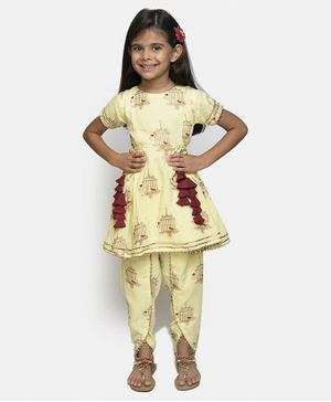 Fairies Forever Bird In Cage Print Half Sleeves Kurti & Salwar Set - Yellow